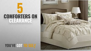Top 10 Comforters On Clearance [2018]: 7 Piece Comforter Set Queen Size Ivory Luxury Modern Bedding