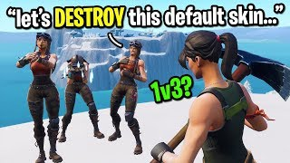 Default skin accepts 1v3 against RENEGADE RAIDERS in Fortnite playground...