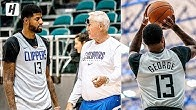 Paul George 1st Clippers Practice! Working with NBA Logo Jerry West!