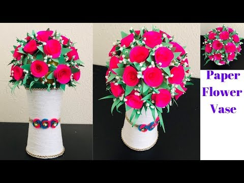 DIY | Amazing Paper Flower Vase with Paper cups | Home  Decoration Ideas| Paper roses | CrazeeCrafts