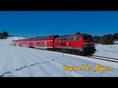 Winter an der König-Ludwig-Bahn mit BR 218 und VT 642