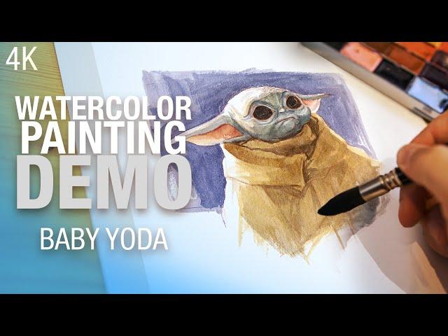 🎨 How to paint GROGU ( Baby Yoda) in Watercolor - 4K