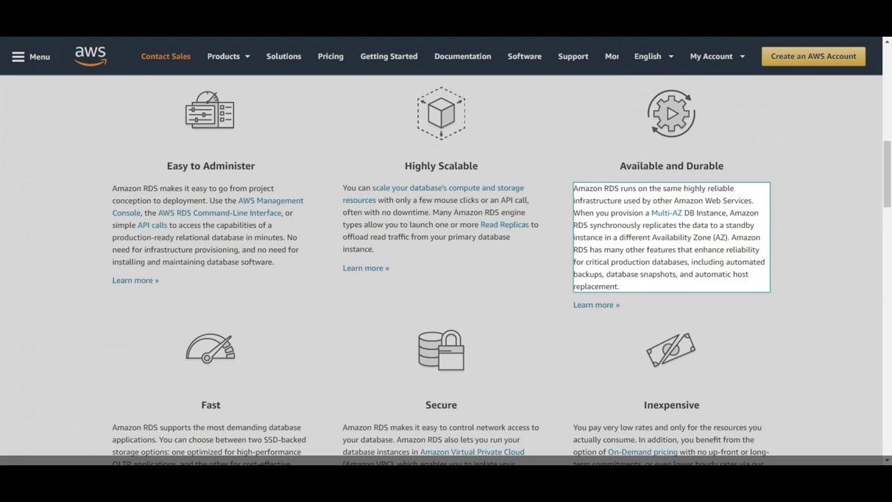 amazon database Amazon relational database service (rds) provides scalable database servers with mysql, oracle, sql server, and postgresql support amazon.