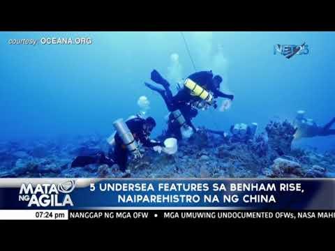 5 undersea features sa Benham Rise naiparehistro na ng China