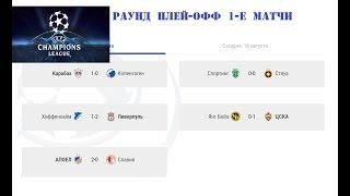 Футбол Лига Чемпионов 2017/2018. Раунд плей - офф. Результаты и расписание