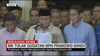 Prabowo Kecewa Tapi Ikhlas Terima Putusan Sidang MK