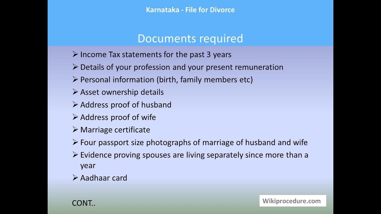 Karnataka - File for Divorce