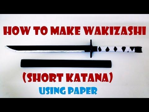 How to make paper Wakizashi ( short katana sword ) - Handmade toys tutorial