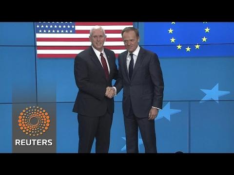 Pence visits Brussels, seeking deeper ties with EU