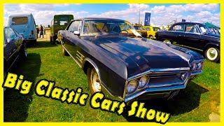 Big Classic Cars Show. Old Cars of the 70s and 80s Audi, Buick, Volga, Toyota. AutoShow 2018