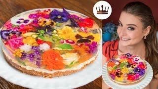 TORTA JARDIM ESPELHADA (com flores comestíveis!)