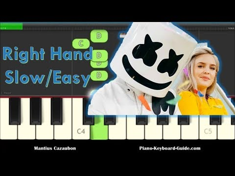 Marshmello & Anne-Marie Friends Right Hand, Slow, Easy Piano Tutorial