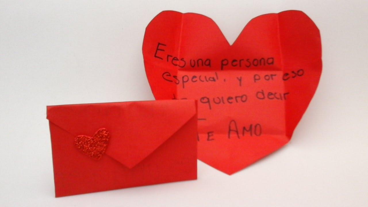 Sobre carta que al desdoblar queda con forma de coraz n - Como decorar un sobre ...
