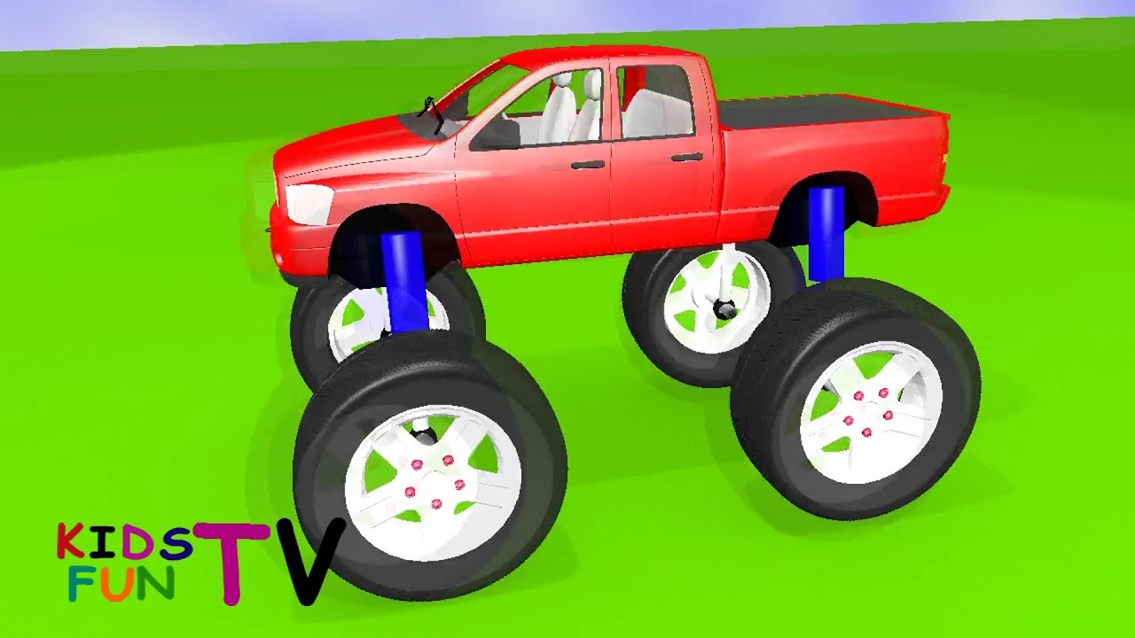 kidsfuntv monster truck 3d hd animation video for kids youtube. Black Bedroom Furniture Sets. Home Design Ideas
