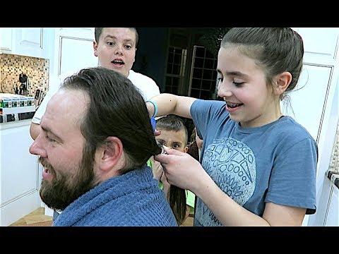 CRAZY KiD SAWS DADS HAIR OFF WITH CHICKEN SCISSORS!