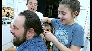 CRAZY KiD SAWS DAD'S HAIR OFF WITH CHICKEN SCISSORS!