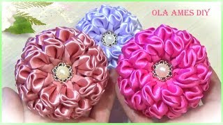 Канзаши новинки/Цветы из лент/DIY Satin Ribbon Flowers/Kanzashi/Flores de fita/Ola ameS DIY