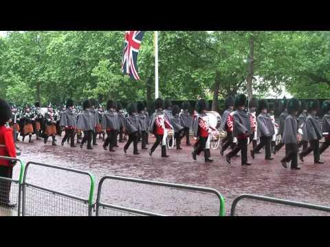 Irish Guards march along The Mall
