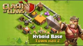Clash Of Clans | Best TH2 Hybrid Base | Especially for Beginners