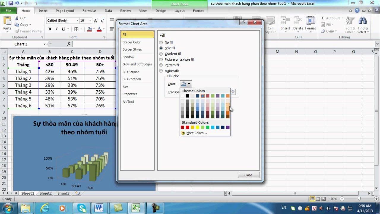 Chương 3 bài 5: Biểu đồ trong bảng tính MS Excel (HD)