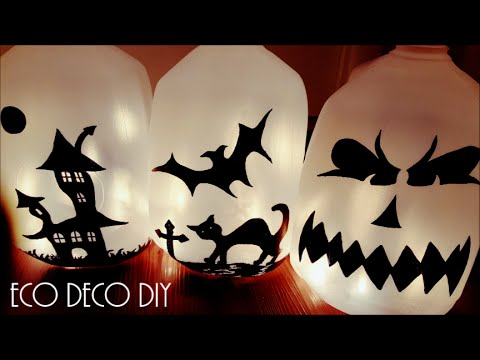 Halloween Lamparas Con Botellas De Leche Boooper Facil Y Gratis