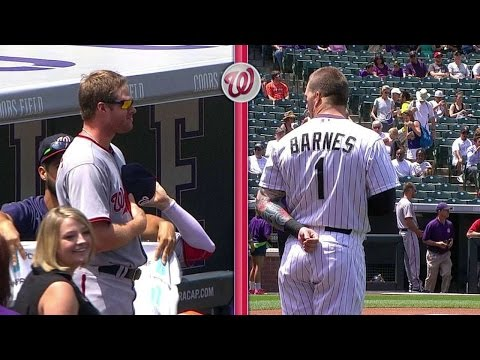 Aaron Barrett and Brandon Barnes have epic STANDOFF before the game