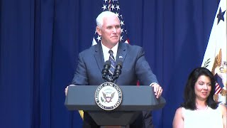 Vice President Mike Pence speaks at his portrait unveiling at the Indiana Statehouse
