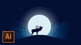 Animal Silhouette Moonlight Vector Illustration - Illustrator Tutorial | Educational