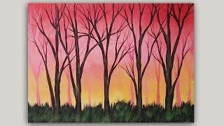 Acrylic Painting Warm Sunrise Through the Trees