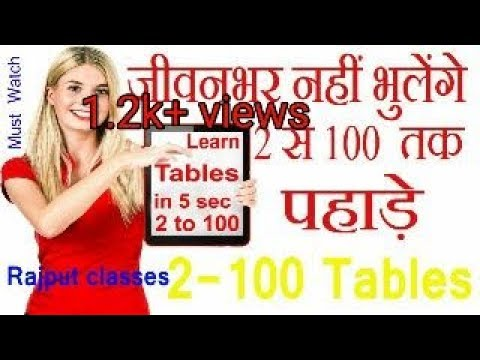 2 to 100 tables kaise yaad kare/trick to learn tables/Rajput Classes