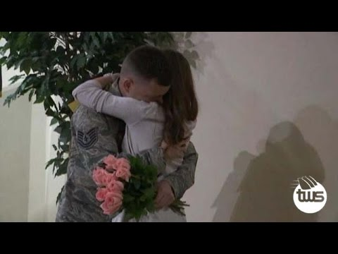 Soldier Surprise His Two Daughters at School