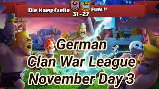 Die Kampfzelle vs FUN !!   War League November Recaps   champions League 3   COC clash of clans 2018