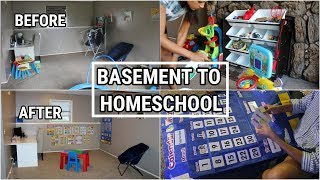 CLEAN WITH ME | FROM BASEMENT TO HOMESCHOOL | SAHM CLEANING MOTIVATION