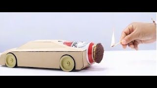 Cool matches powered cardboard jet car