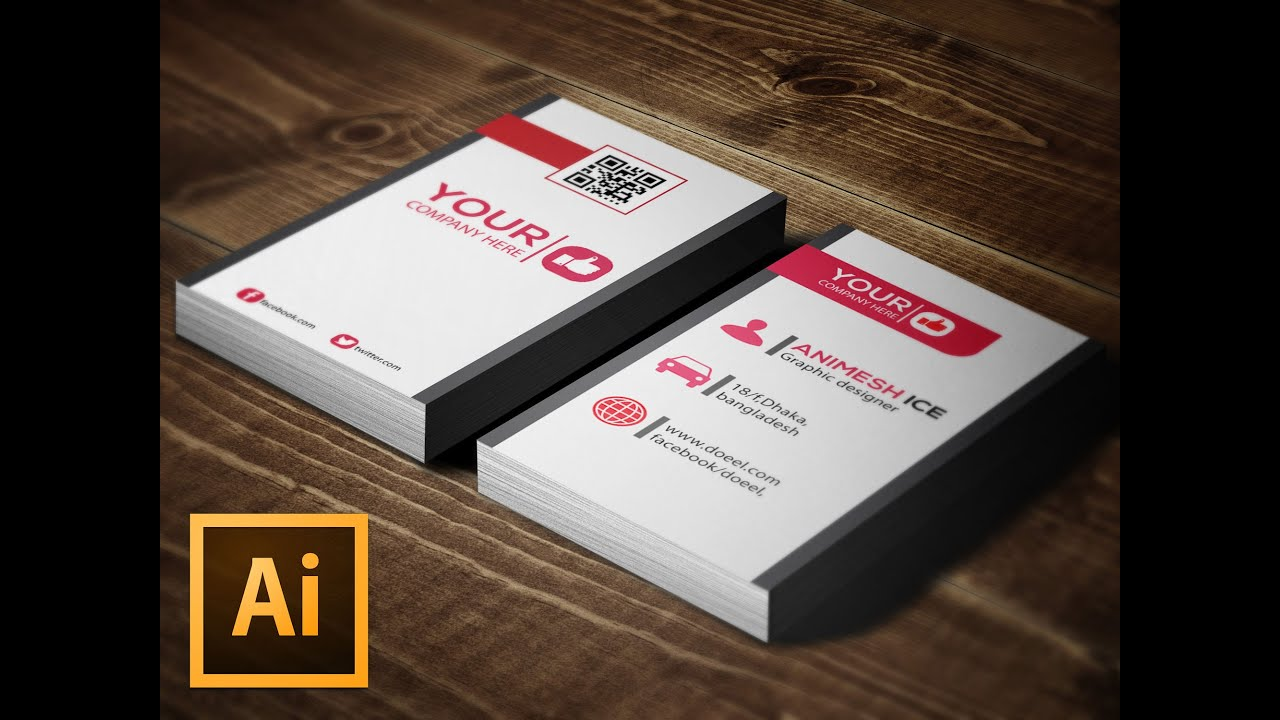 Vertical Business Card design tutorial Illustrator - YouTube