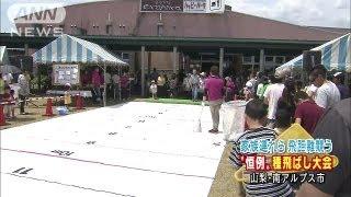 地元特産をPR サクランボの種飛ばし大会開かれる(13/06/02) 林田理沙 検索動画 11