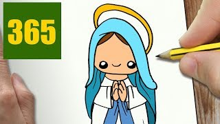 HOW TO DRAW A VIRGIN MARY CUTE, Easy step by step drawing lessons for kids