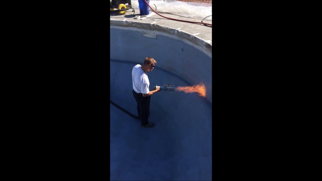 Hot Shot Pool Finishes Spraying The Aqua Bright Finish
