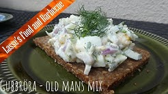 Gubbröra - old mans mix. Egg and anchovy sallad on rye bread. Husmanskost