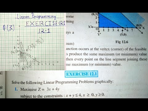 12 Th (NCERT) Mathematics- LINEAR PROGRAMMING | EXERCISE- 12.1 (Solution) | Pathshala (Hindi)