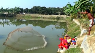 Net Fishing | Best Cast Net Fishing Videos | Catching Huge Fish In Village Pond