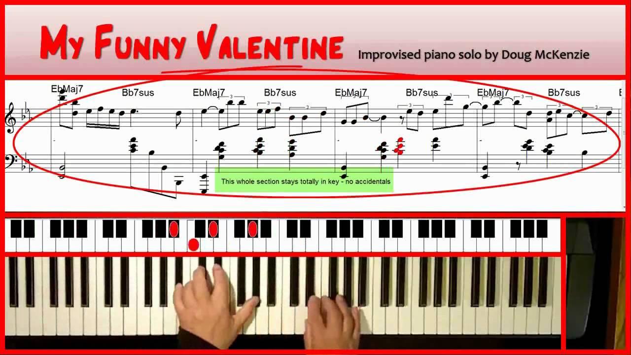 My Funny Valentine Solo Jazz Piano Tutorial Youtube