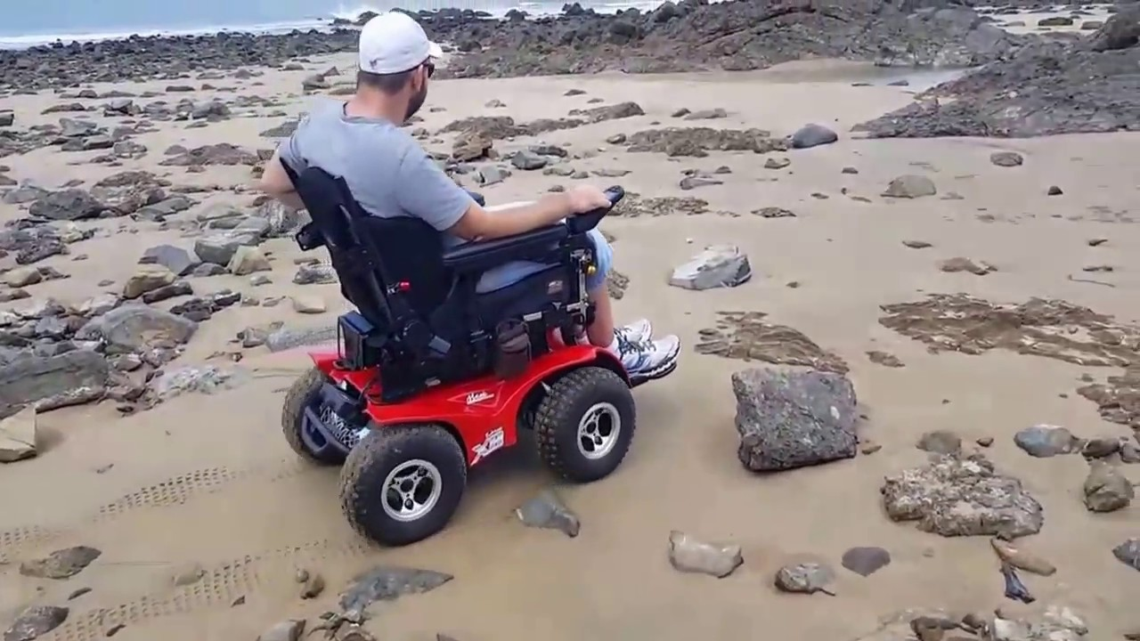 x8 wheelchair pink tufted vanity chair magic mobility extreme 4x4 on the beach youtube