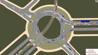 PTV Vissim: A  Roundabout with Tram Priority