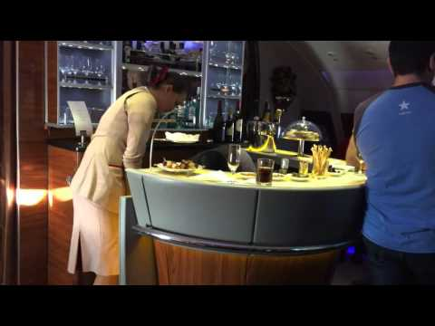 FIRST CLASS A380 Emirates - Private Bar for First Class Passengers Only