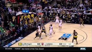 Kameron chatman hit a 3 from the corner with .02 seconds left in game to lift michigan 72-69 win over indiana.