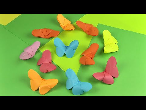 How to make a butterfly of paper (craft ideas, origami art for kids)