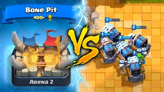 5 SPARKYS vs ARENA 2 NOOB! TROLLING BONE PIT ARENA - Clash Royale Sparky Trolls Low Level Players!