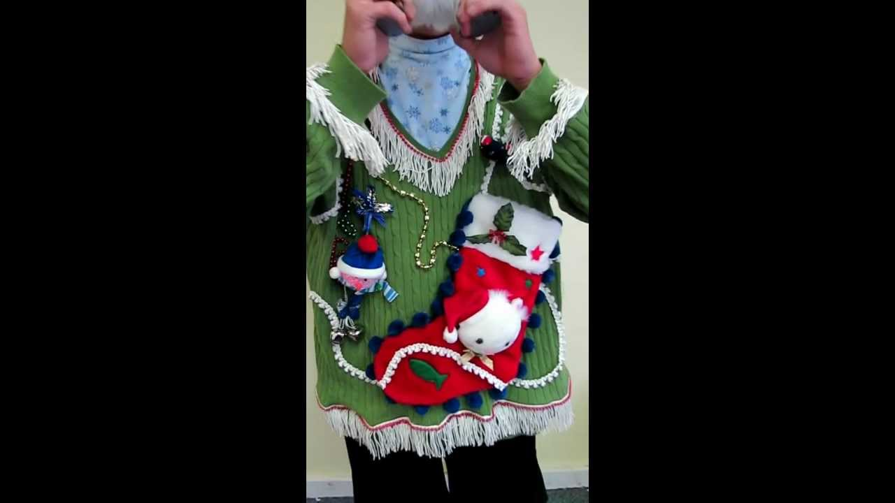 Talking Light Up Ugly Kitty Cat Christmas Sweater Youtube