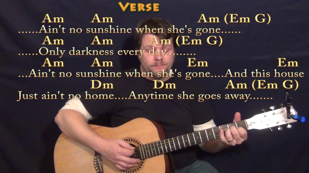Ain T No Sunshine Bill Withers Guitar Lesson Chord Chart With Chords Lyrics 16th Strum Youtube Wonder if she's gone to stay. ain t no sunshine bill withers guitar lesson chord chart with chords lyrics 16th strum